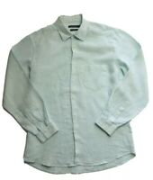 Sportscraft Men's Green Check Pure Linen Longsleeve Shirt Size M