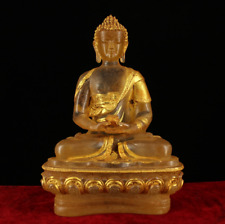 "9"" China Antique Tibet Be unearthed crystal gilt Amitayus Buddha statue"