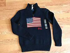 Polo Ralph Lauren RL 67 1/2 zip American flag sweater navy blue USA S 8 classic