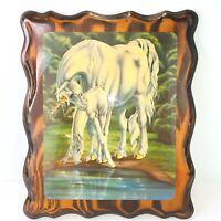 "Sue Dawe Unicorn Wall Print on Wood Fantasy Art Glossy 10 x 12"" Vintage"