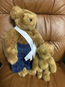 Honey Vermont Teddy Bear Brown Eyes Denim Pants Sash And Mini Vermont Teddy Bear