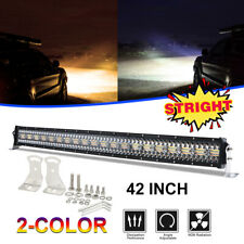42Inch 780W Dual Color LED Light Bar Strobe Flood Spot Combo Beam 4WD Offroad