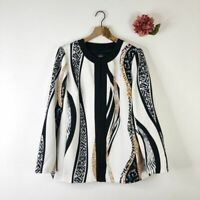 DENNIS BASSO Women's Luxe Crepe Jacket Printed Black White 16 $115