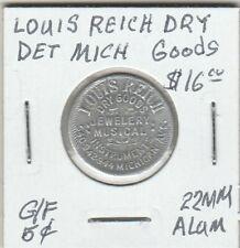 Token - Detroit, MI - Louis Reich Dry Goods - G/F 5 Cents - 22 MM Aluminum