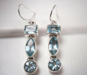 Faceted Blue Topaz Marquise 925 Sterling Silver Dangle 3-Gem Earrings