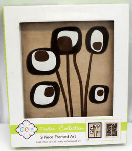 2 Pc CoCaLo Pewter Framed Wall Art Decor Embroidered Floral Brown Design 12x18