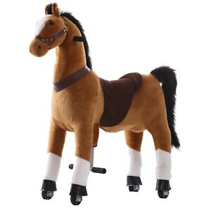 Light Brown Ride on Horse Animal Toy for Kids - Large