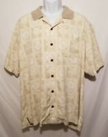 Tommy Bahama Mens Large Floral Short Sleeve 100% Silk Button Camp Shirt