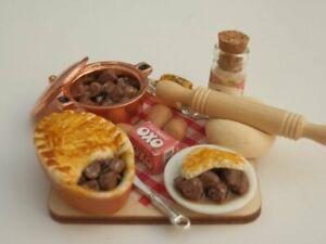 Dolls house food: Making a steak pie prep board   -By Fran