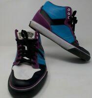 Pony Signature Neff Hi Top Men's Sz 10.5 Leather Blue White Purple Neon 90s