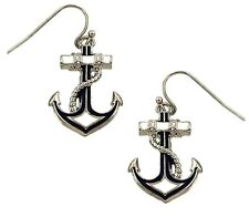 Beautiful Nautical Anchor Earrings White nd Navy Blue Gift Boxed Fast Shipping