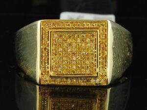 Yellow Diamond Pinky Ring 10K Yellow Gold 0.26 CT Statement Pave Band