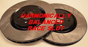 Fit 13-14 Shelby GT500 Harmonically Balanced Race Slotted Brake Rotors Rear