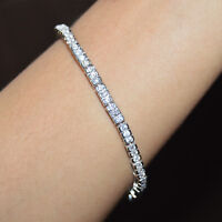 "2.50 CT TENNIS BRACELET 7.5"" ROW ROUND CUT D/VVS1 DIAMONDS 14K WHITE GOLD FINISH"