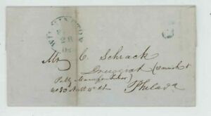 Mr Fancy Cancel Stampless Blue Wilmington Del Philadelphia 5 1849 FLS #546