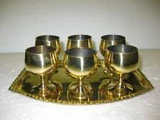 New Mini small Brass Wine Goblet 6 cups With  Small rectangleTray Miniature Cup