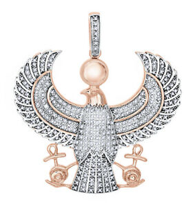 1.50 Ct Round Cut Simulated Diamond 18K Rose Gold Pendant Seal Eagle Mens Pave