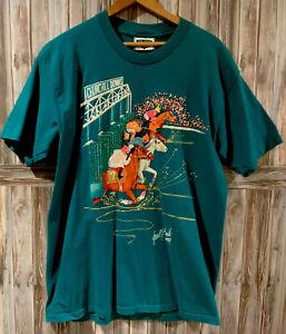 VtG 1994 Kentucky Derby Joan Studwell Teal Hand Painted Glitter T Shirt Large