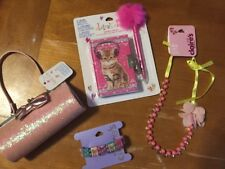 Claire's Kitten Diary Purse Glasses Case Jewelry Lot + Justice Stickers Easter
