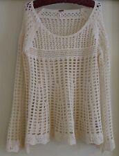 Free People Cream White Sz M Sweater Boho Annabelle Fishnet Loose Weave Knit