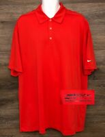 NIKE GOLF Men's FIT-DRI Orange Polyester Short Sleeve Polo Golf Casual Shirt XL