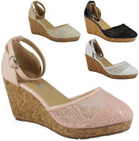 SALE WOMENS LADIES ANKLE STRAP PLATFORM SEQUIN MID HEEL WEDGE SHOES SANDALS SIZE