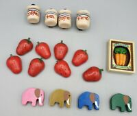 Pelican-Horse-Rose-Eagle-Grapes-Pineapple-Cherry Intarsia Wood Magnets