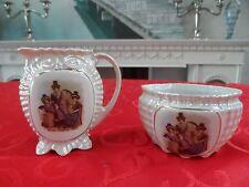 Czechoslovakia Porcelain Pearl Ware Lustre Milk Jug Sugar Bowl Victoria