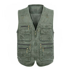 Plus Size Men Multipockets Denim Waistcoat Fishing Outdoor Safari Vest Gilet Top