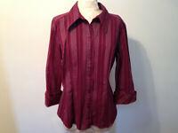 Burgundy Silver GITANO Cotton Blend 3/4 Sleeve Button Blouse Shirt Top Size XL