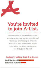Chick-Fil-A VIP A-List Membership Invite Card! BE A VIP Free Food! Coupons! Gift