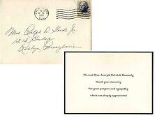 Parents JFK John F. Kennedy Assassination Thank U Note