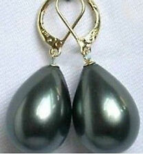 20mm Sterling Silver AA Quality Teardrop Black Shell Pearl Leverback Earrings