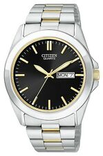 Mens Citizen Quartz Black Dial Two Tone Stainless Steel Watch W Date BF0584-56E