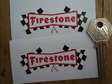 FIRESTONE 50's Chequered Flag Classic Car Bike STICKERS 80mm Pr Race Rally 60's