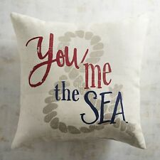 """INDOOR OUTDOOR You, Me & The Sea Printed Pillow Natural 20""""W x 20""""H"""