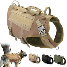 No Pull Tactical Dog Harness Large K9 Dogs Military MOLLE Training Vest & Handle