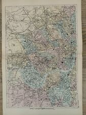 More details for 1886 london (west) antique hand coloured city plan by g.w. bacon