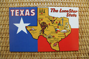 USA MAP Postcard : TEXAS The Lone Star State