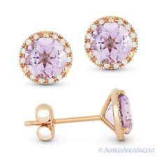 1.59 ct Round Cut Pink Amethyst Diamond 14k Rose Gold Martini Halo Stud Earrings