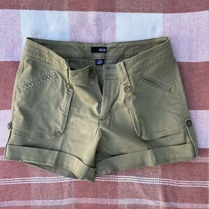 ANA A New Approach Mid Rise Womens Size 12 Khaki Cuffed Shorts Summer Safari
