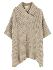 Aran Traditions Womens Ladies Oatmeal Cable Knit Style Poncho Shawl Winter Warm