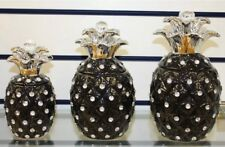 SHINY BLACK PINEAPPLE JARS SET OF 3 TEA SUGAR COFFE BISCUITS STORAGE