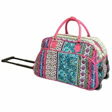 "Women's BOHO Print 21"" Rolling Duffel Bag Suitcase Garment Carry-on Duffel Bag"