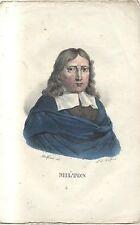 JOHN MILTON splendida litografia DOLFINO acquerellata metà 800 ORIGINALE