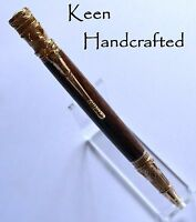 ho - Keen Handcrafted Handmade Red Palm Federal 24 kt Gold Twist Pen