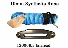 """3/8""""*100ft Synthetic Rope add 10"""" ATV Fairlead,Replacement Winch Cable with hook"""