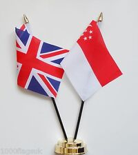 United Kingdom UK & Singapore Friendship Table Flag Set