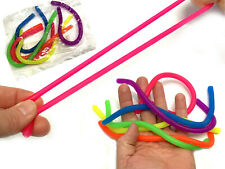 6x Stretchy Noodle String Neon Kids Childrens Fidget Sensory Stress Relief Toy