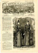 French MODE ILLUSTREE SEWING PATTERN November 2,1890